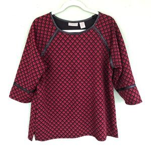 3/$15 Red and Black Top with Leather Trim L